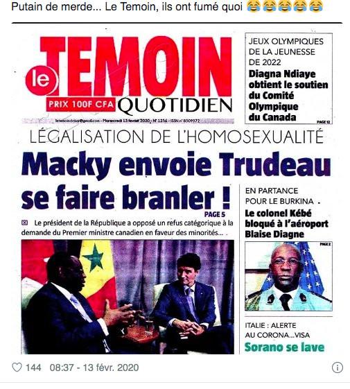 Macky, Trudeau et Homos*xualité : L'incroyable UNE du quotidien  »Le Témoin » secoue la toile